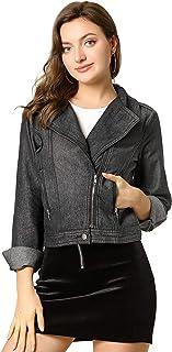 Allegra K Women's Notched Lapel Asymmetric Zip Closure Moto Denim Jacket