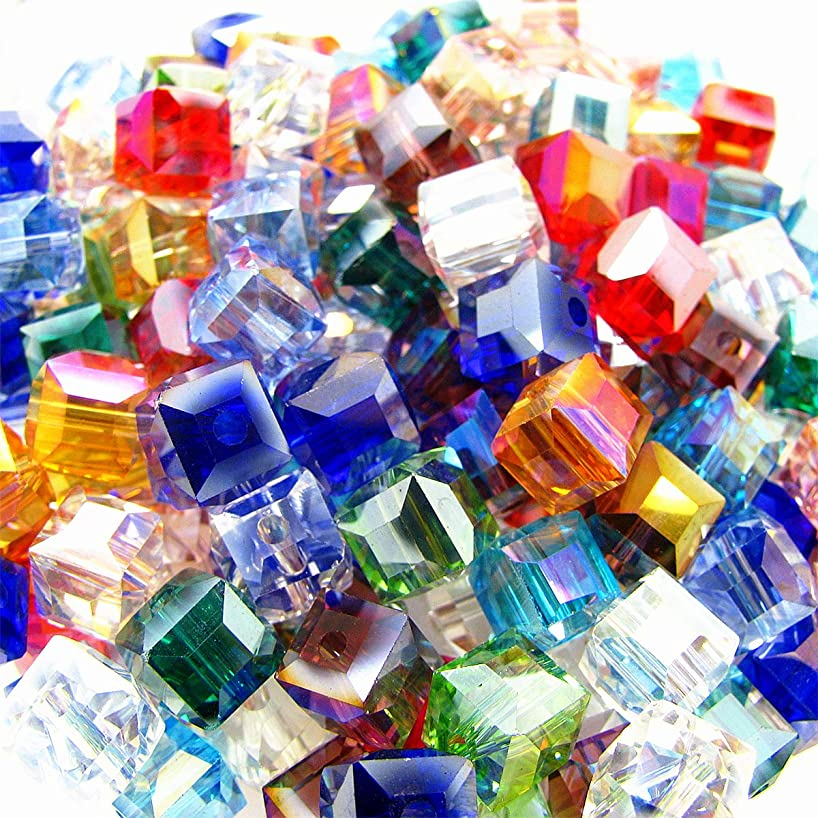 200pcs 4mm Square Cube Crystal Beads Synthetic Crystal Beads Mix Color