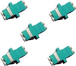 Fiber Optic Cable Adapter/Coupler LC-LC Duplex Aqua/OM3/OM4 5 Pack