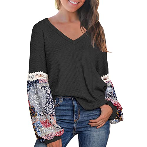 Blouses for Women,Shirts for Women Multicolor Striple Flower Sweater Casual Knitted Long Sleeve Pullover