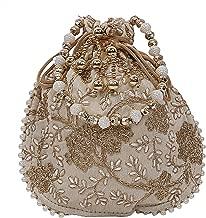 Kuber Industries Silk Embroidered Women Potli Bag (Cream) -CTKTC8803
