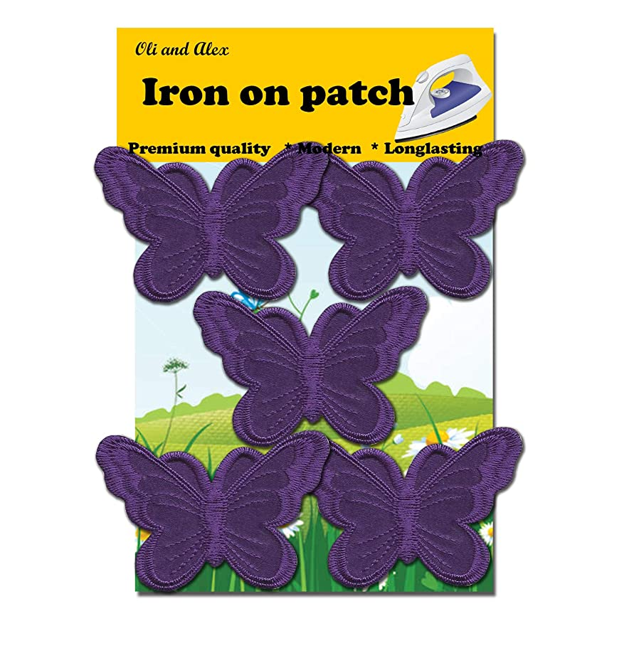 A-54, 5 Dark Purple(Avega) Butterfly Patches Bug Embroidered Iron On Applique PatchEach Measures: 2.95 x 1.96 inches (7.5cm x 5.0cm)