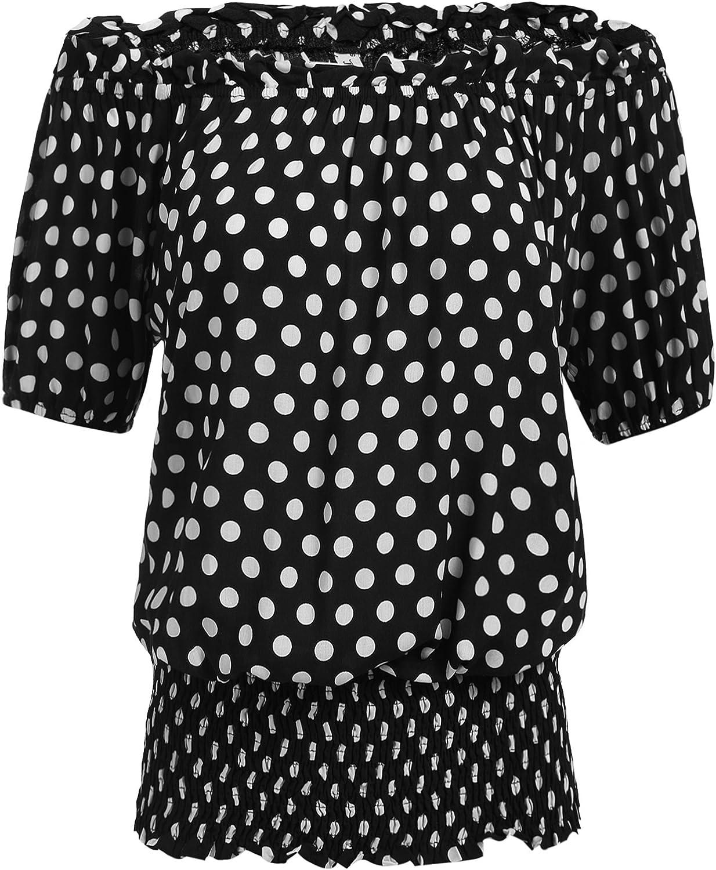 ELESOL Women Peasant Blouse Ruffle Off Shoulder Boho Tops Vintage Smocked Waist Shirts SXXL