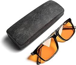 THL Sleep Blue Light Blocking Reading Glasses for Better Sleep - Amber Orange Computer Filter Anti Eye Strain Lenses (Black) Wide Fit