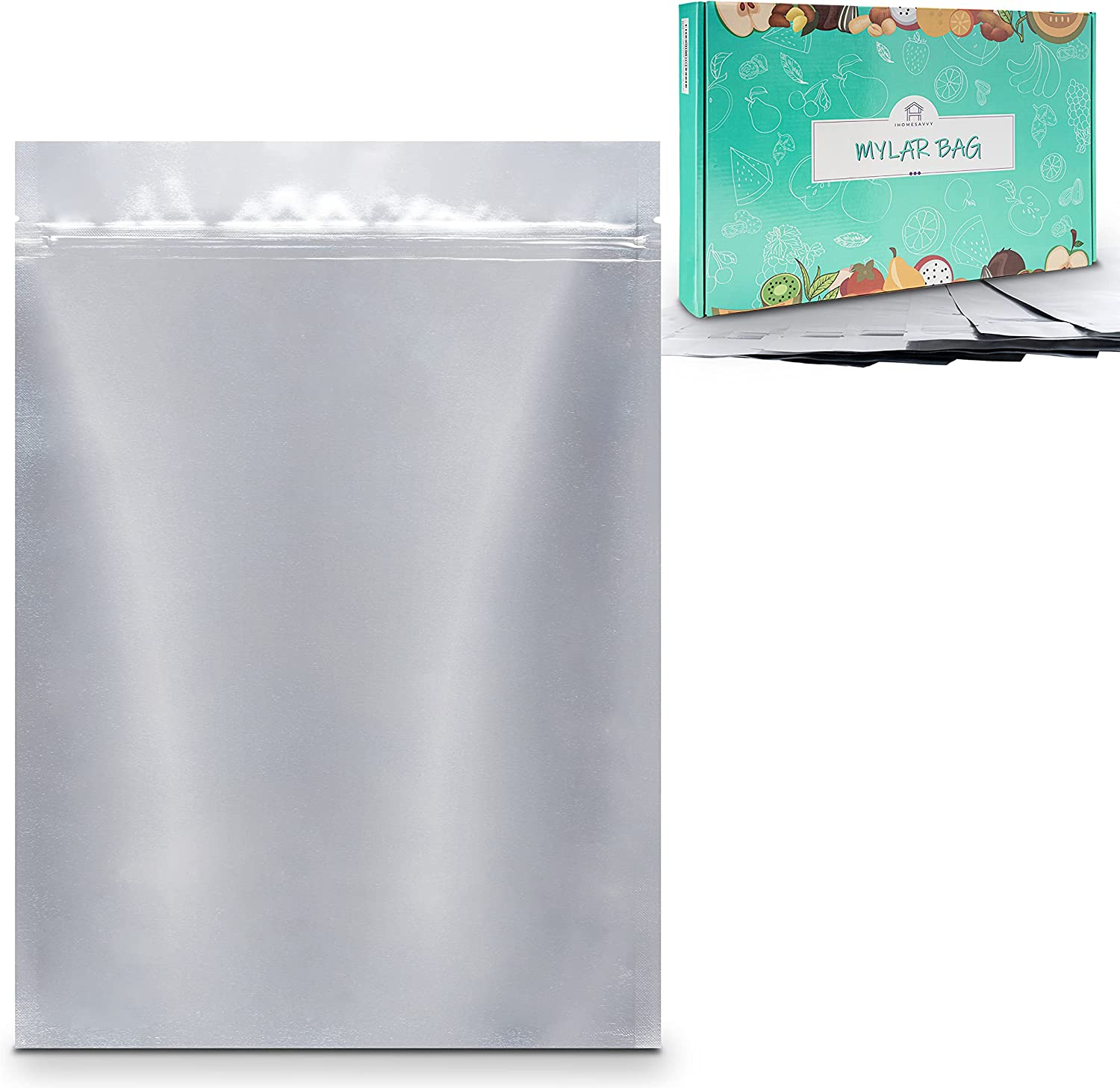 IHOMESAVVY 100 Translated Fixed price for sale Pack Mylar Bag – Bags Food For Flat Storage
