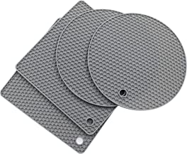 Jiozermi 4pcs Gray Silicone Trivet Mats, Thick Multi-Purpose Pot Holder, Heat Resistant Drying Mats, Oven Mitts & Hot Pad...