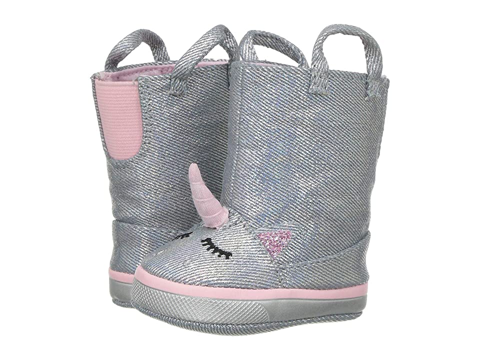 Baby Deer Soft Sole Unicorn Boot (Infant) (Silver) Girls Shoes