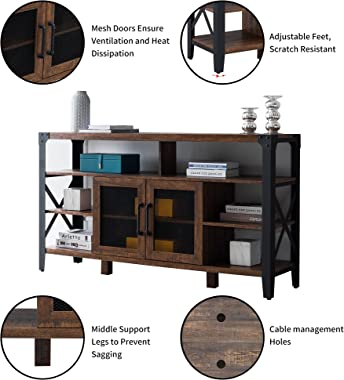OKD TV Stand Industrial Entertainment Center Rustic Media Console Cabinet Tall High Wood Large Brown for 65 inch TV, with Stu