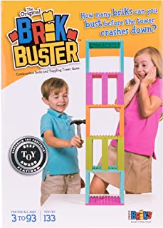 Brik Buster Tower Toppling Game by Strictly Briks Patent Pending | Stack'em High then Bust'em Down! | Award Winning Game Created by Kids for Kids | Fun for All Ages 3+ | 2+ Players | 133 Pieces