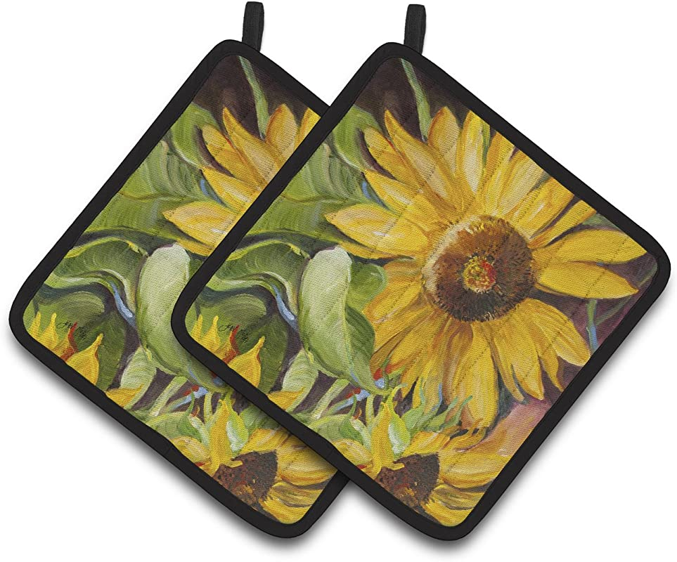 Caroline S Treasures Sunflowers Pair Of Pot Holders JMK1265PTHD 7 5HX7 5W Multicolor