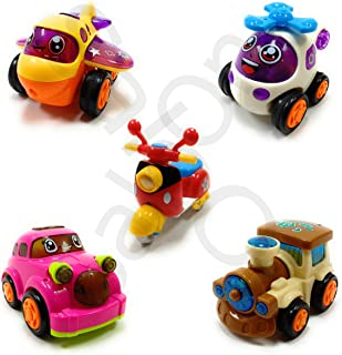 SaleOn™ Set of 5 Unbreakable Friction Powered Automobile Car Scooter Helicopter Plane Train Toys for Kids -1158