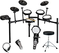 LAGRIMA YDL-50 Mesh Kit Electric Drum Set Connection Cables Headphones Solid Support Set 8 Piece Electronic Drum Kit with Adjustable Drum Throne Drumstick