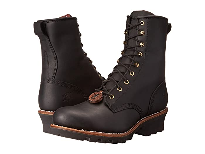 Edwardian Men's Shoes & Boots | 1900, 1910s Chippewa 8 Steel Toe Logger Black Mens Work Boots $209.95 AT vintagedancer.com