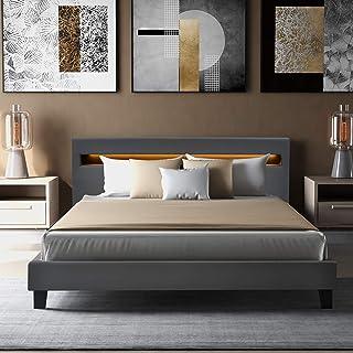 Joycelzen Lit ottoman double rembourré avec tête de lit et sommier à lattes pour chambre à coucher, appartement, dortoir, ...
