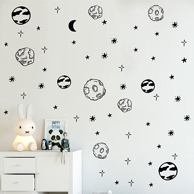 Melissalove Planet Wall Sticker Kids Room Removable DIY Solar System Wall Decor Decals Astronomy Nursery Art Stickers Space Decoration ZB578 Black