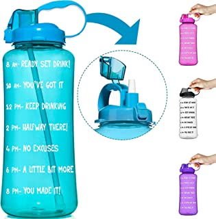 HydroMATE 1 Gallon & 1/2 Half Gallon Straw Motivational Water Bottle with Time Marker Large BPA Free Jug Handle Time Marked 5 Drink Marking Measures to Track Daily Water Intake Hydro MATE 128 oz 64 oz