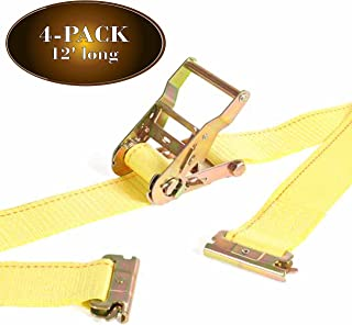 DC Cargo Mall 4 E Track Ratcheting Straps Cargo TieDowns, 2 x 12 Heavy Duty Yellow Polyester Tie-Down Straps, Strong Ratch...