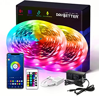 DAYBETTER Smart RGB Led Strip Lights with Bluetooth,50ft Led Lights for Bedroom with App Control,Multicolor Changing Led L...