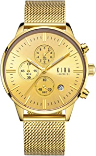 KIRA-WATCHES Reloj de pulsera de lujo y estilo para hombres – dial de acero inoxidable 316L y correa de malla de Milanese, 3 cronógrafos de 1.654in cronógrafo analógico relojes – reloj de movimiento de cuarzo japonés para precisión
