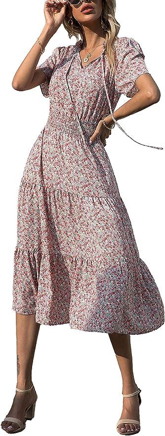 BTFBM Women Boho Floral Print Casual Dress Summer Sexy Tie V Neck Short Sleeve Vintage Elastic A-Line Beach Midi Dresses