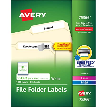 """Avery TrueBlock File Folder Labels, Sure Feed Technology, Permanent Adhesive, White, 2/3"""" x 3-7/16"""", 1,800 Labels (75366)"""