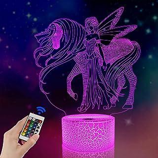 Fullosun Ilusión nocturna 3D, unicornio, lámpara de escritorio LED, 16 colores, carga USB, decoración de dormitorio para niños, Navidad, Halloween, cumpleaños