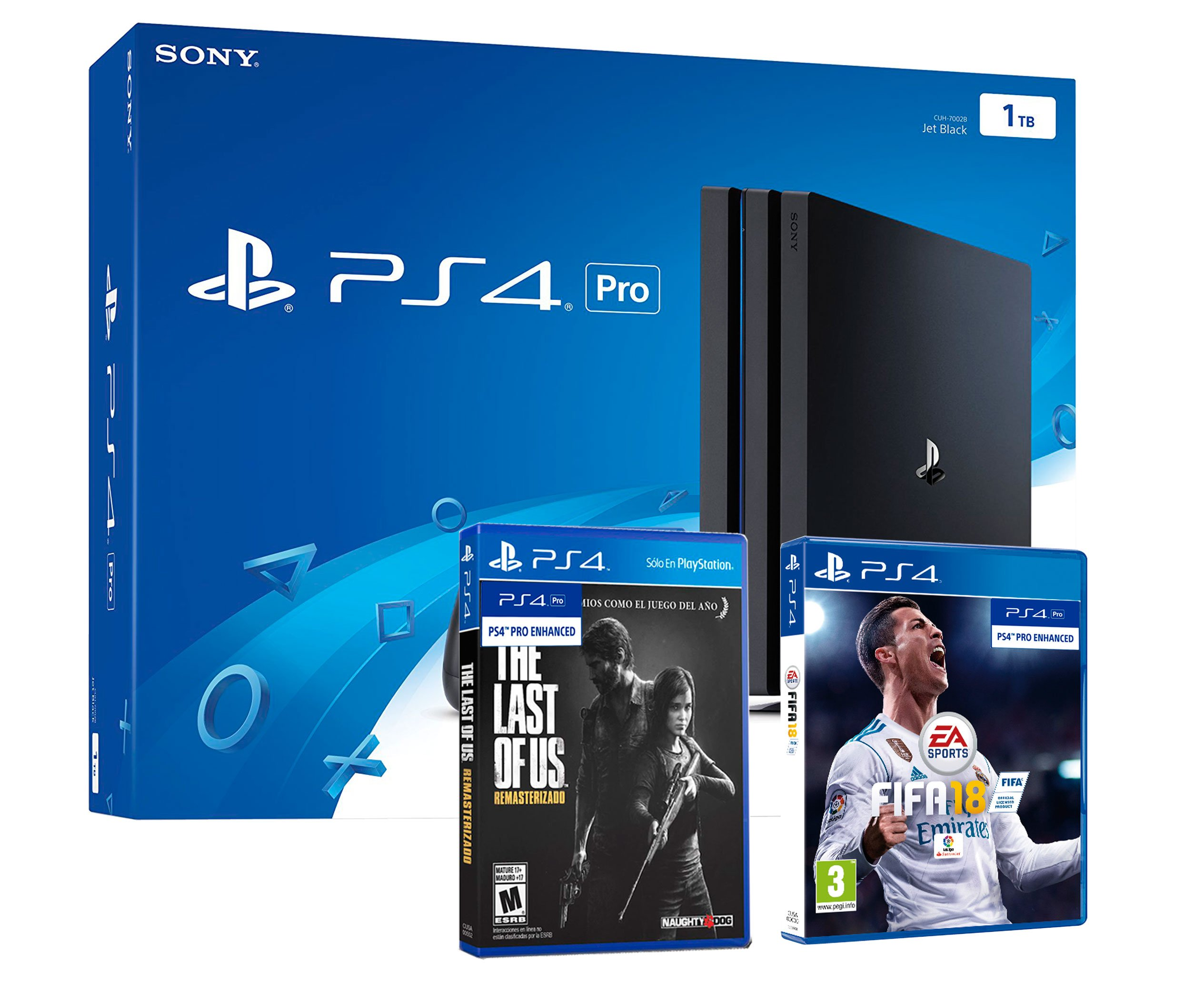 PS4 Pro 1TB Playstation 4 - Pack 2 Juegos 4K - FIFA 18 + The Last ...