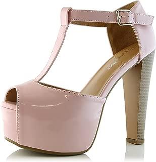 Women's Peep Toe Platform Sandal Pumps Open Toe Ankle Buckle T-Strap Extreme Evening Party Dress Casual Shoes