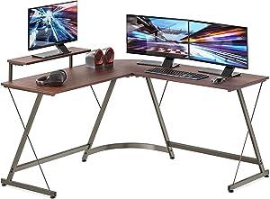 SHW Vista L-Shape Desk with Monitor Stand, Walnut