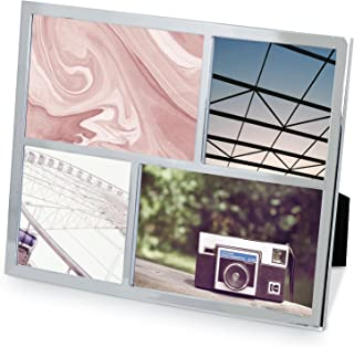 Umbra Senza Multi Photo Frame Metal Picture Frame, Modern, Thin Frame, Metallic - Chrome Finish
