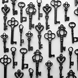 48PCS Antique Mini Collection Skeleton Keys, Vintage Steam Punk Keys, Castle Dungeon Pirate Keys for Birthday Party Favors, Mini Treasure Toy Gifts (Black)