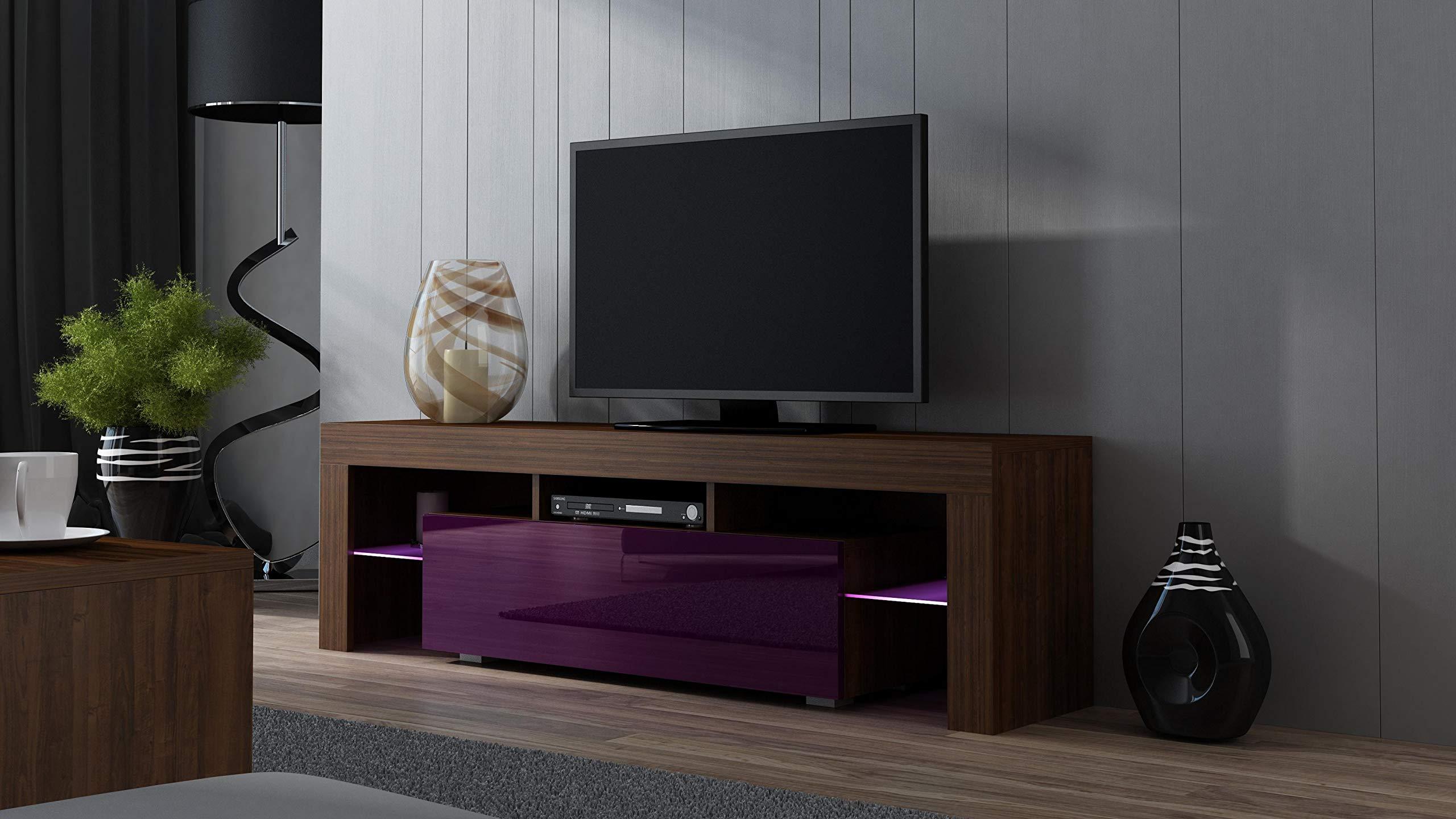 MILANO 160 Castaño y Blanco - Exclusivo mueble TV sala / para televisores de hasta 70 pulgadas / Moderna y elegante mesa TV con estantes de cristal con iluminación LED y un