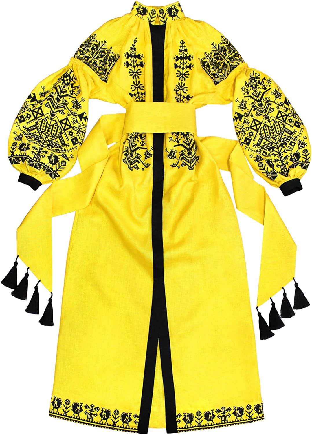 """Plahta Long Dress with Embroidery """"KingBird"""" Yellow"""