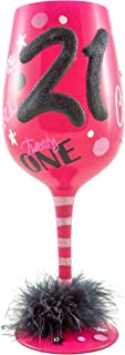 Top Shelf 21st Birthday Wine Glass with Charm - Novelty Gift Idea For Her