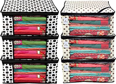 Kuber Industries Polka Dot Design 6 Piece Non Woven Fabric Saree Cover Set with Transparent Window, Extra Large, Cream & White -CTKTC40855