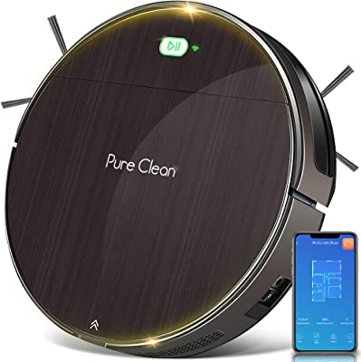 """SereneLife Pure Robotic Vacuum Cleaner - 1600Pa Suction - WiFi Mobile App and Gyroscope Mapping - Ultra Thin 3.1"""" Height Cleans Carpets and Hardwood Floor - PUCRC850"""