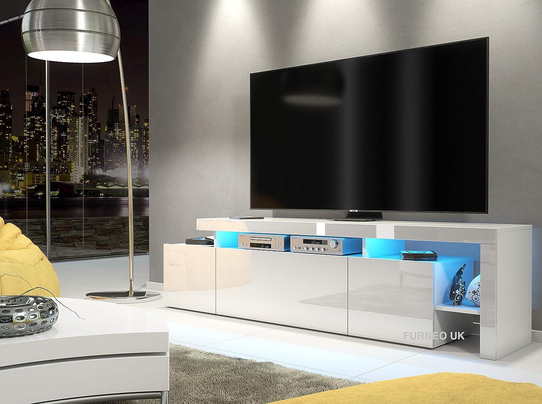 Furneo White TV Stand 10cm Unit Matt & High Gloss Indisio10 Blue LED Lights