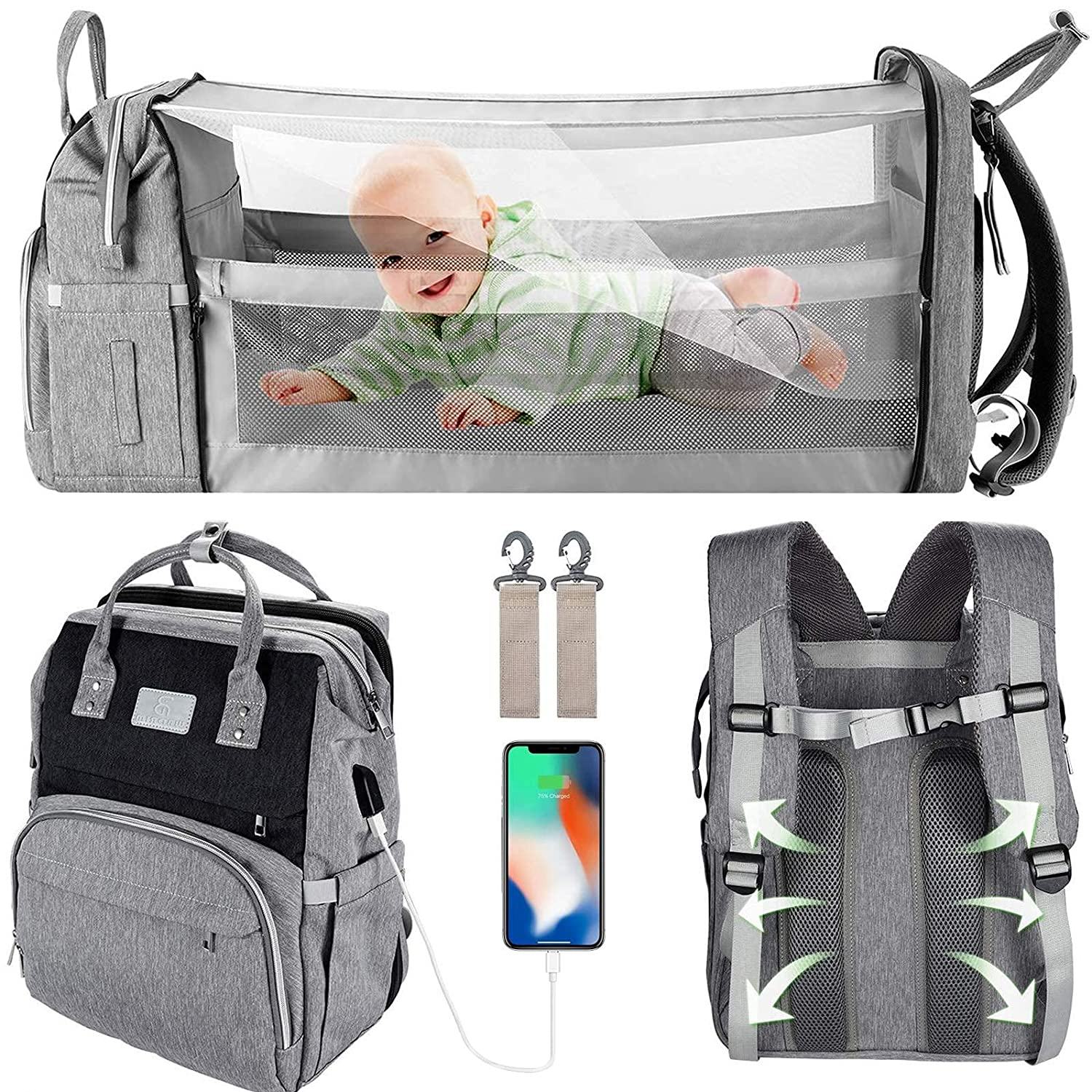 Diaper Bag Backpack with Changing Station, WBDRIM Travel Foldable Modern Baby Bag, Mom Dad Bags for Boy Girl, Large Capacity Waterproof Multifunction Grey