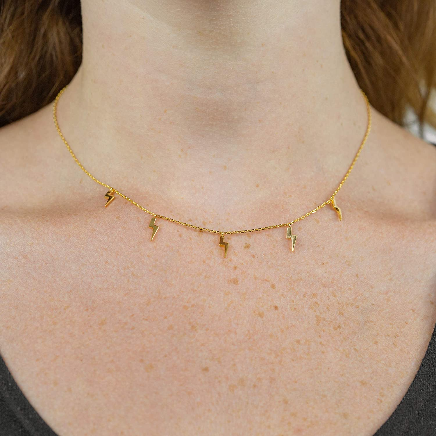 Columbus 14K Gold or Rhodium Plated Charm Necklace Lightning Bolt Pendant Dainty Layering Necklace Star Station Necklace