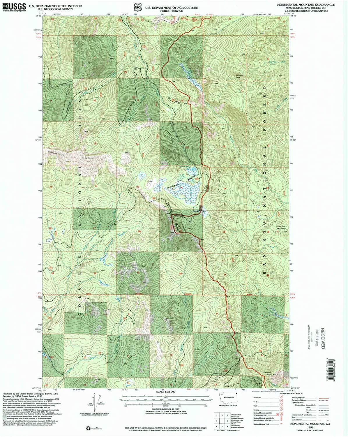 Monumental Mountain WA topo map, 1 24000 Scale, 7.5 X 7.5 Minute, Historical, 1996, Updated 2000, 27.2 x 22.2 in