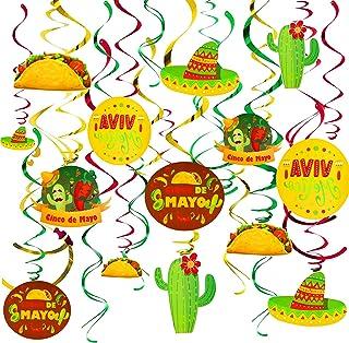Fiesta Hanging Swirl Decorations, Konsait 30 Count Mexican Fiesta Cinco De Mayo Party Swirls Foil Hanging Swirl Streamers ...