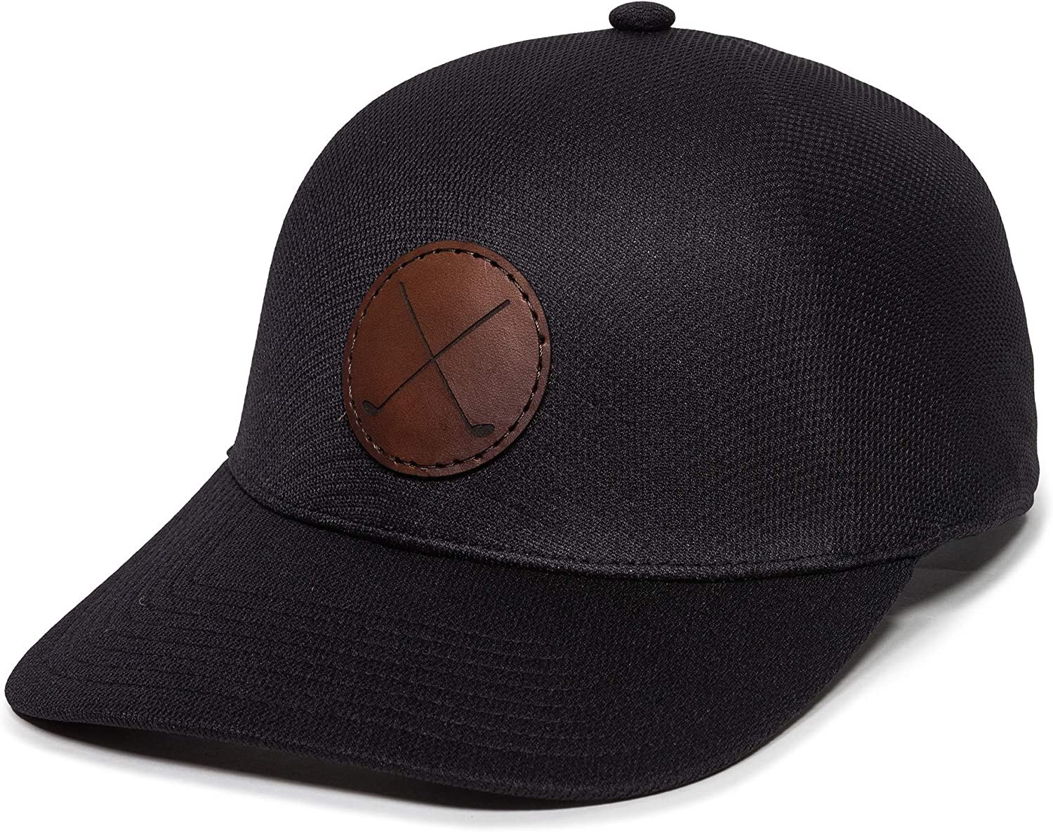 Golf Clubs Leather Patch OneTouch Hat - Adjustable Baseball Cap for Men & Women