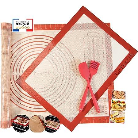 Tapis à pâtisserie en silicone antidérapant Extra Large avec mesures anti-adhésif, antidérapant Lot de 2 Tapis de Cuisson réutilisable pour le pain, la pizza