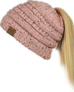 BeanieTail Soft Stretch Cable Knit Messy High Bun Ponytail Beanie Hat