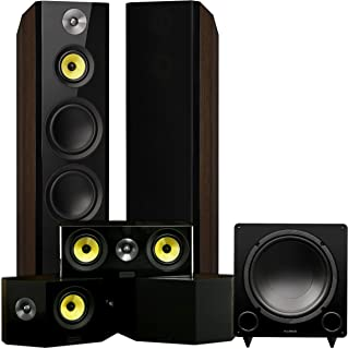 Fluance Signature Series Surround Sound Home Theater 5.1 Channel Speaker System Including Three-Way Floorstanding, Center, Bi-Polar Speakers, and DB12 Subwoofer - Walnut (HF51WB)
