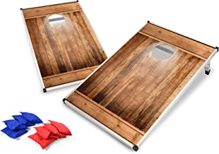 Backyard Champs Corn Hole Outdoor Game: 2 Portable MDF Cornhole Boards and 8 Bean Bags, 2 x 3 Foot, Aluminum Frame