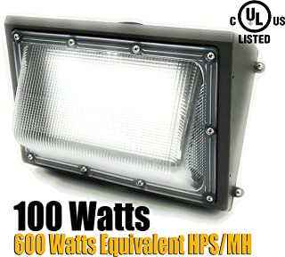 GENPAR 100W Wall Pack LED Light 600 Watt Equivalent HPS/MH UL Listed 11000 Lumens 6000K Daylight 5 Years WARRAN Outdoor Waterproof Commercial Industrial Security Lighting Replacement Lights Wallpack