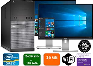 Dell Optiplex 9020 Mini Tower Desktop PC, Intel Core i7-4770, 16GB Ram, 2TB SATA Drive + 256GB SSD WiFi, DVD-RW, Dual 22