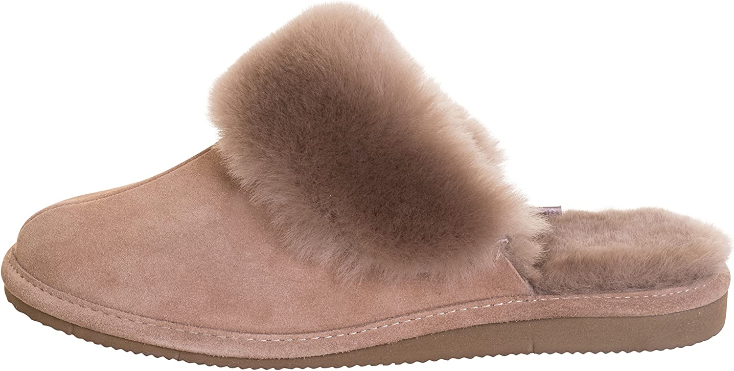 Vogar Womens Sheepskin Leather Mule Slippers House shoes with Warm Wool Lining P01