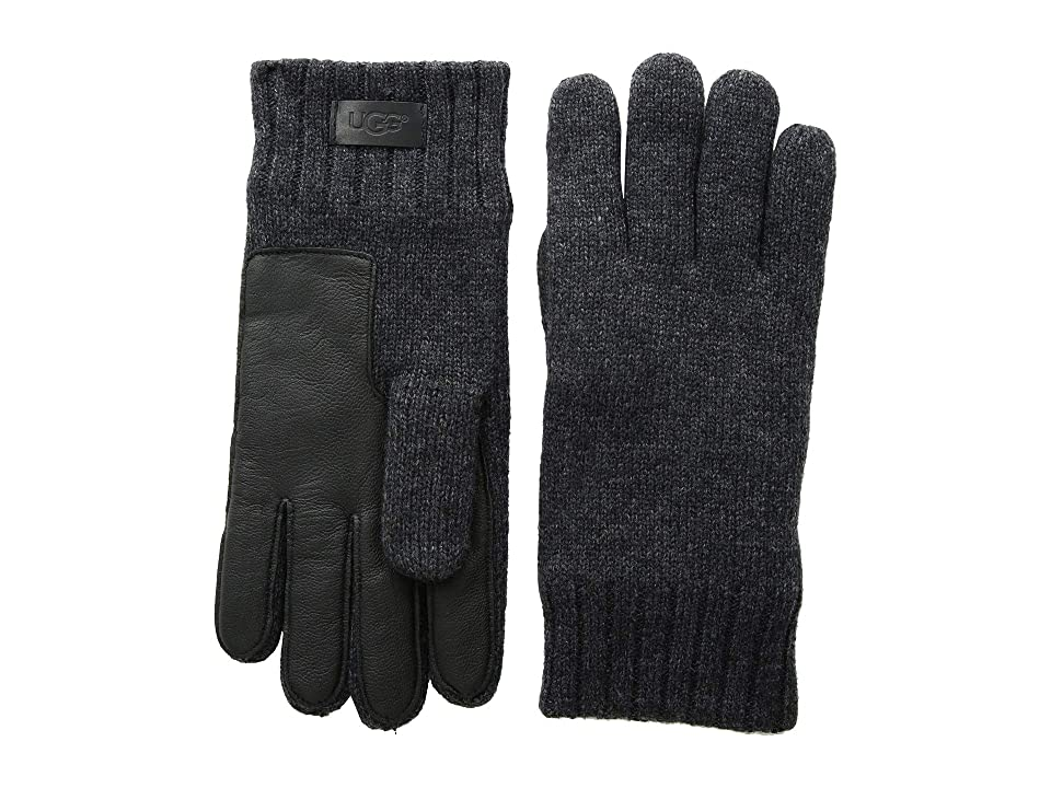 UGG Knit Conductive Leather Gloves (Graphite Heather) Extreme Cold Weather Gloves